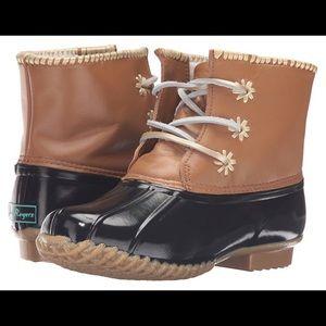 Nwot Jack Rogers Chloe black tan duck boots 6